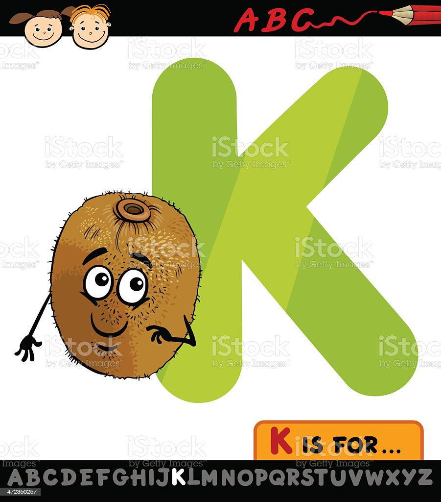 letter k with kiwi cartoon illustration royalty-free letter k with kiwi cartoon illustration stock vector art & more images of alphabet
