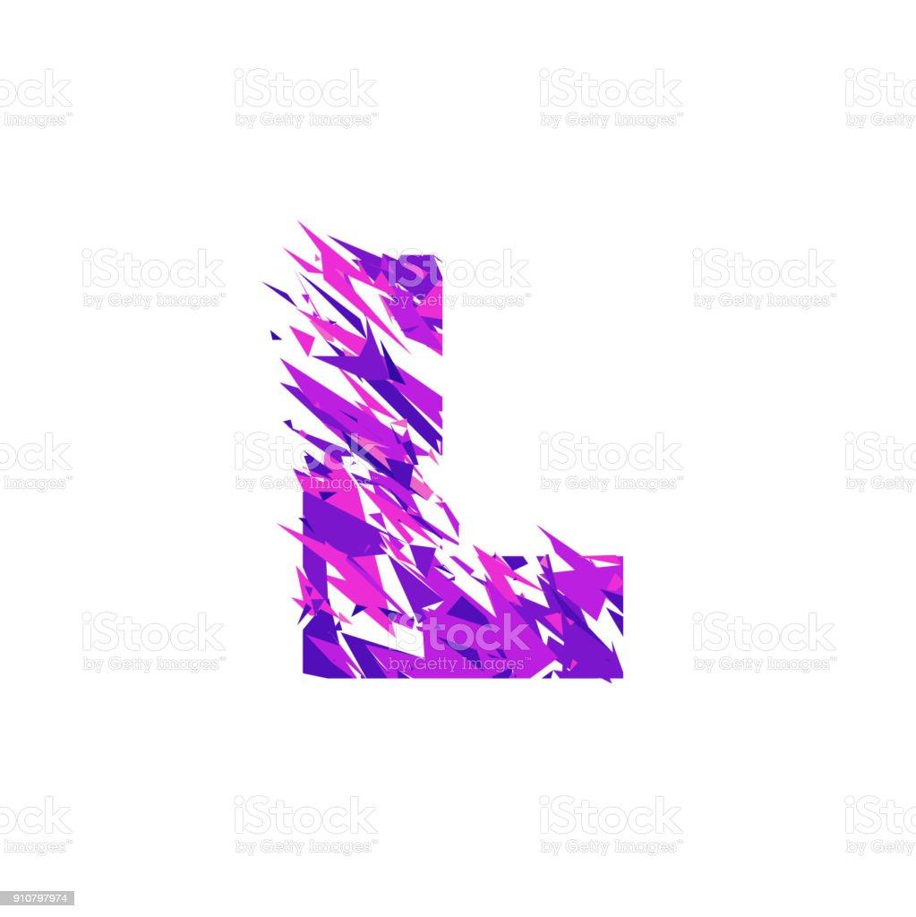 Letter L, broken into a splinters. vector art illustration