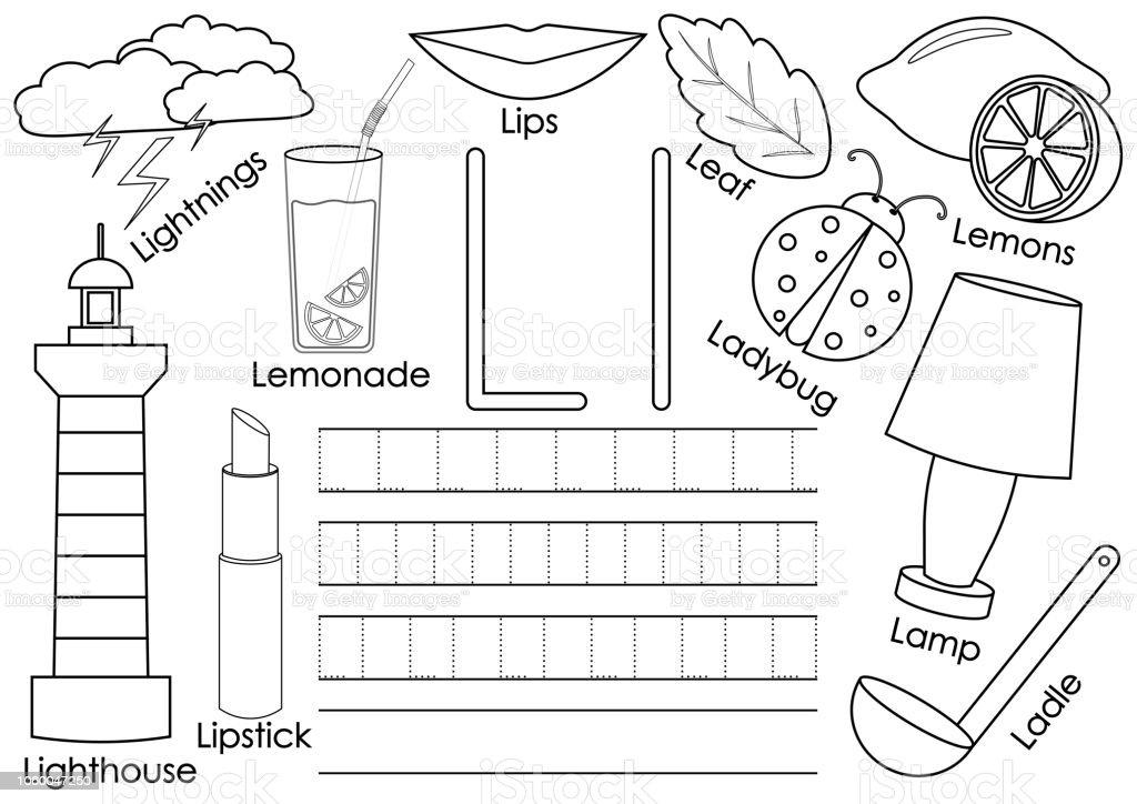Ilustración de Letra L Tarjeta Con Fotos Y Escritura Práctica Para ...