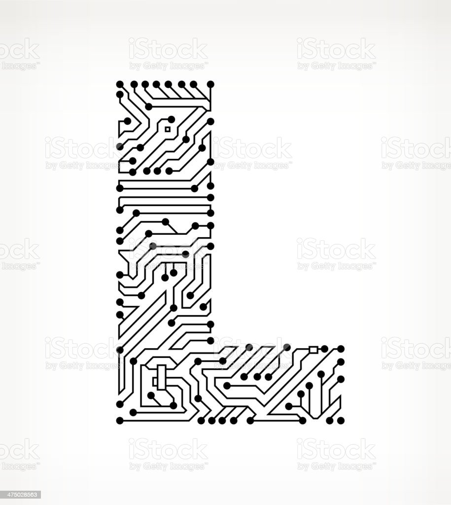 letter l circuit board on white background stock vector art  u0026 more images of alphabet