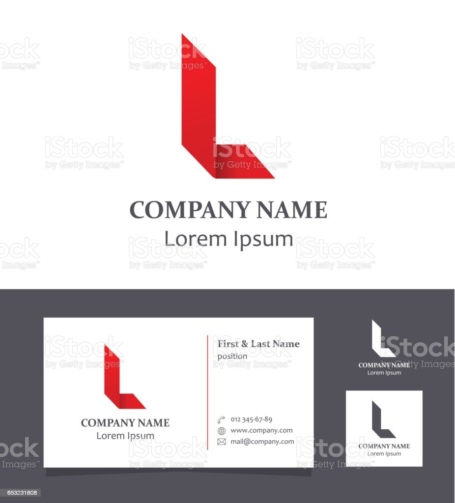 Letter L - Design Element with Business Card - illustration vector art illustration