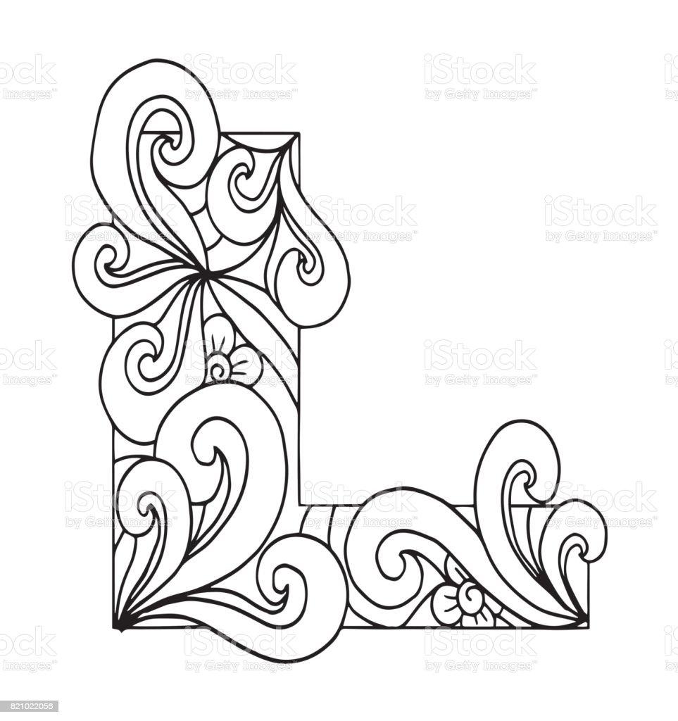 L Harfi Boyama Vektör Dekoratif Nesne Illüstrasyon Bilgisayar Elbise