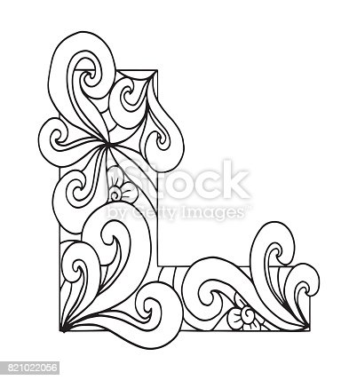 Letter L For Coloring Vector Decorative Object