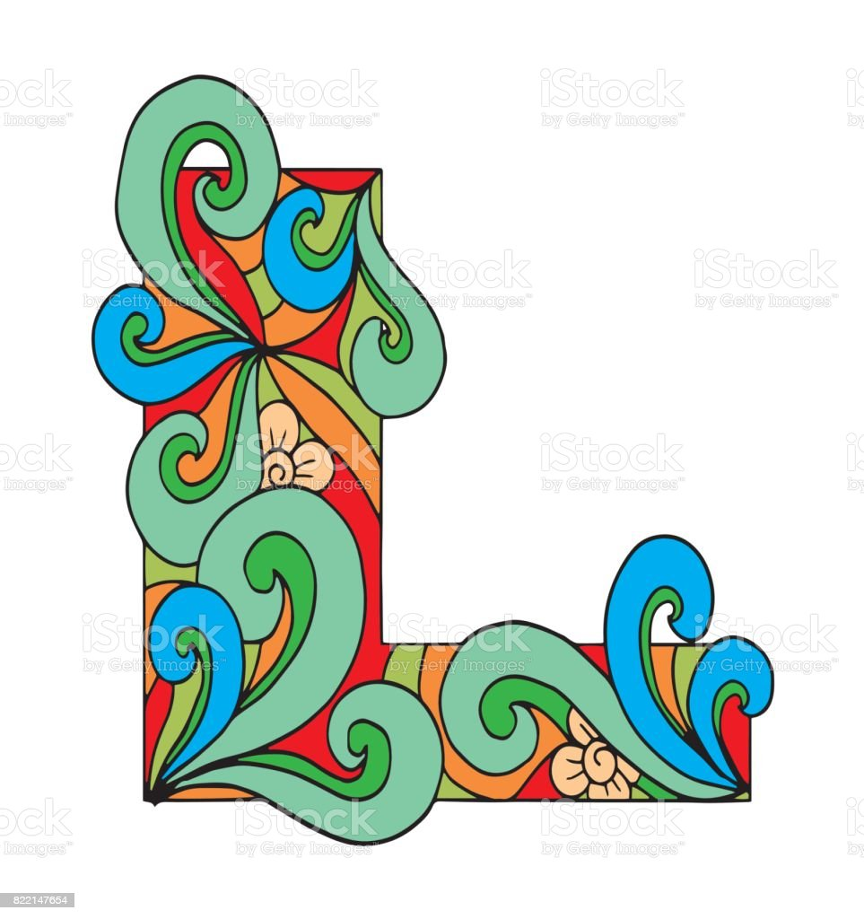 Letter L For Coloring Vector Decorative Object Illustration Computer ...