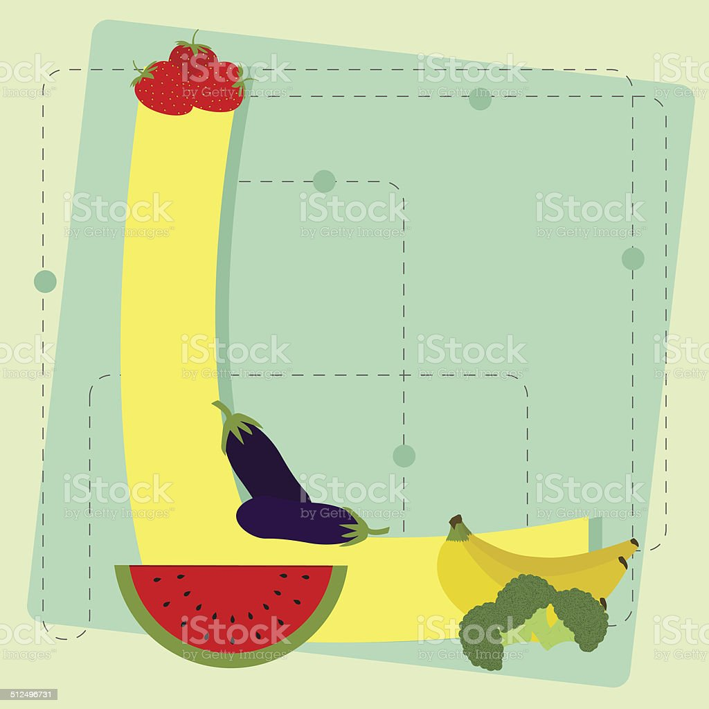 letter l from stylized alphabet with fruits and vegetables stock