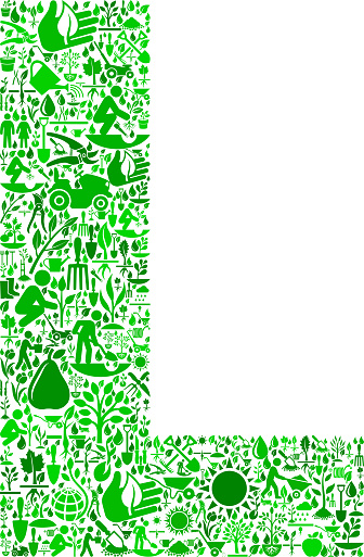 Letter L Garden and Gardening Vector Icon Pattern
