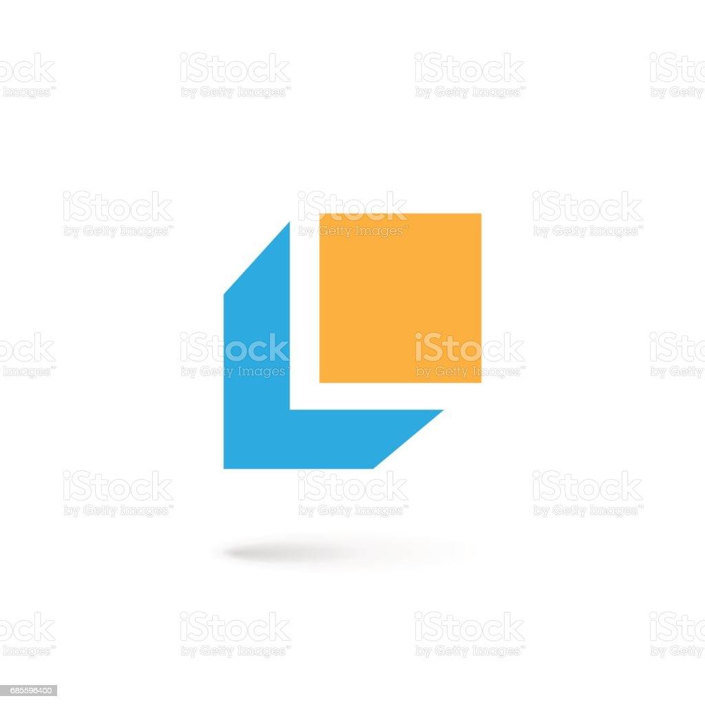 Buchstabe L-Symbol mit Würfel – Vektorgrafik