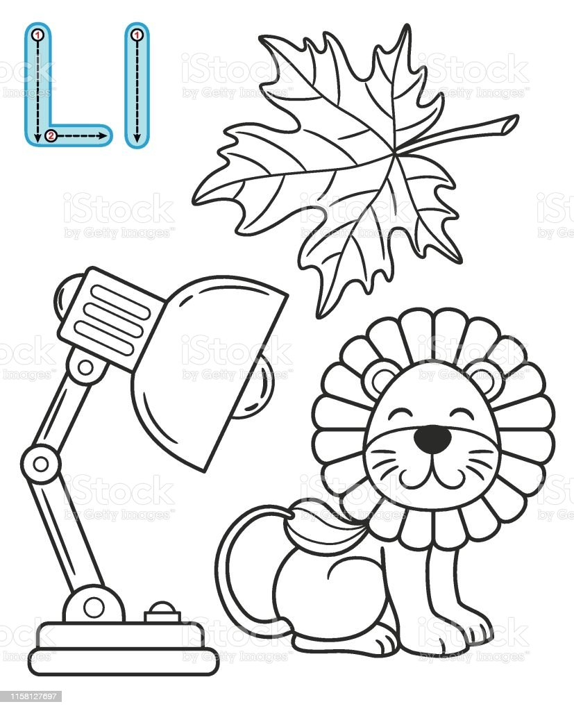 Letter L Leaf Lamp Lion Vector Coloring Book Alphabet Printable