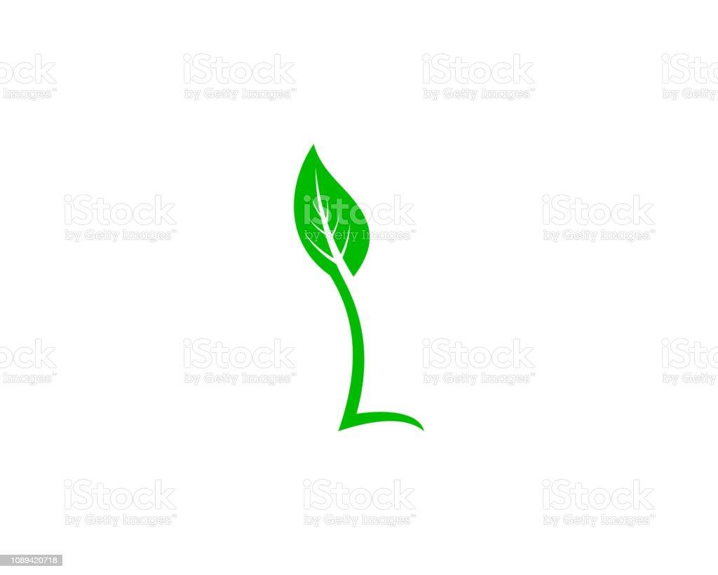 Letter L Leaf Logo Design Template Element vector art illustration