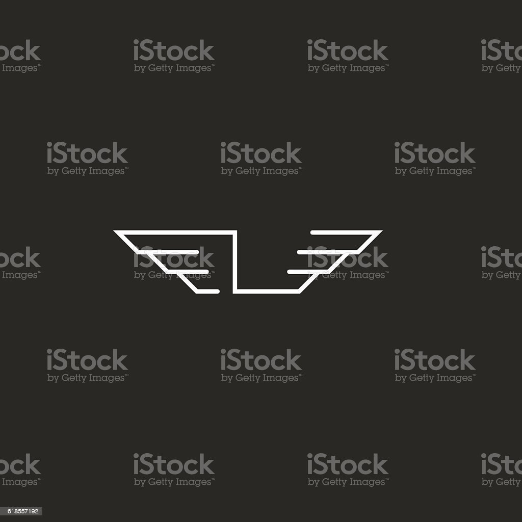 Letter L logo wings monogram, graphic shape thin line emblem vector art illustration