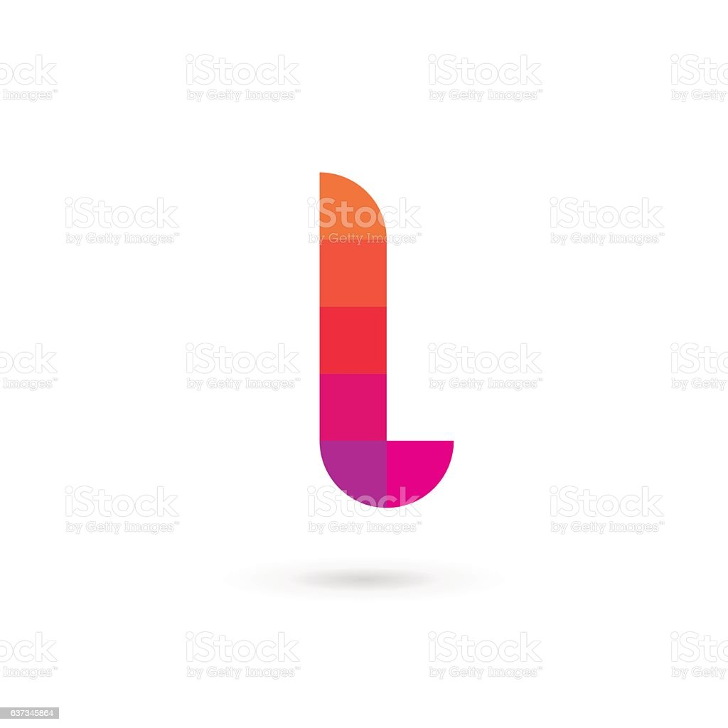 Letter L mosaic icon vector art illustration