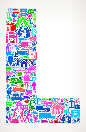 Letter L Moving and Relocation Vector Icon Pattern
