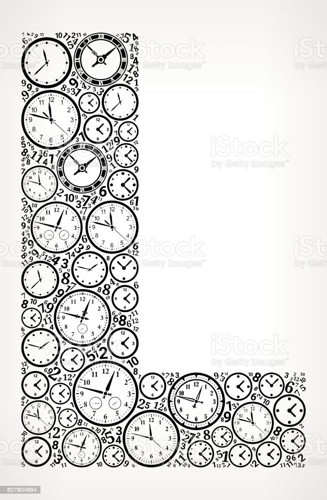 Letter L On Time And Clock Vector Icon Pattern Vektor Illustration ...