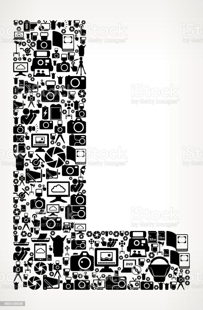 Letter L Photography Black And White Vector Icons Background