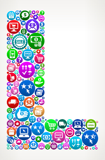 Letter L Shopping and E-commerce Icon Pattern
