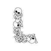 Letter L skeleton Bones Font. Anatomy of an alphabet symbol. dead ABC sign