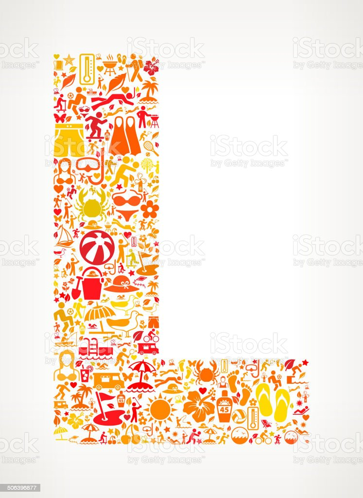 Letter L Summer and Vacation royalty free vector art Pattern royalty-free stock vector art