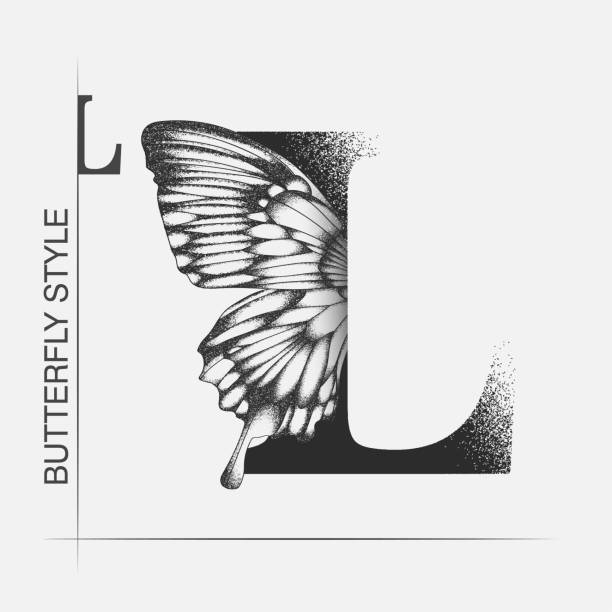 Letter L with butterfly silhouette. Monarch wing butterfly logo template isolated on white background. Calligraphic hand drawn lettering design. Alphabet concept. Monogram vector illustration Letter L with butterfly silhouette. Monarch wing butterfly logo template isolated on white background. Calligraphic hand drawn lettering design. Alphabet concept. Monogram vector illustration. EPS 10 letter l stock illustrations