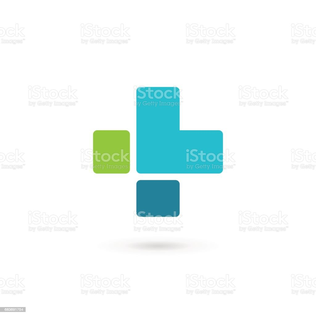 Letter L with cross or plus icon vector art illustration
