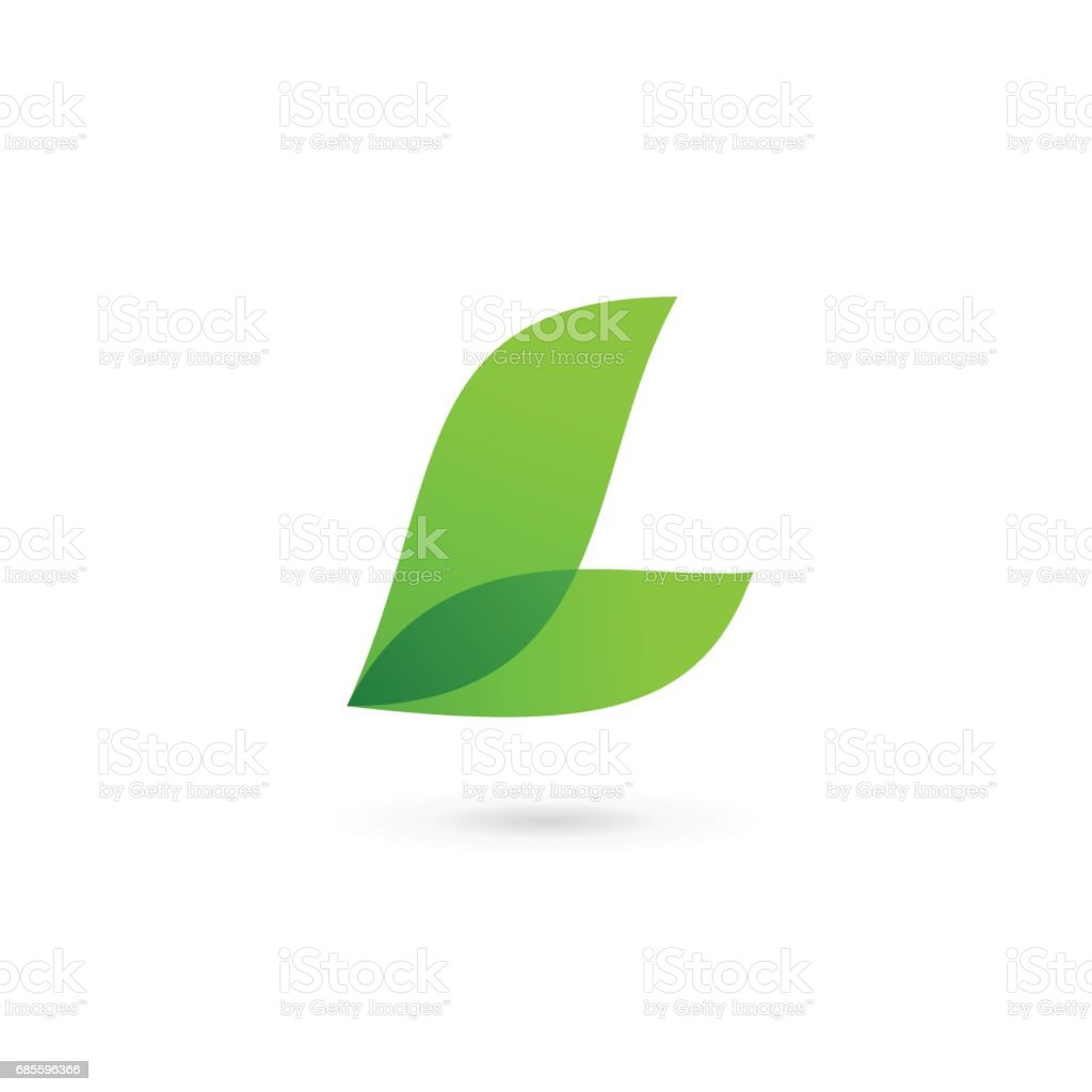 Letter L with eco leaves icon vector art illustration