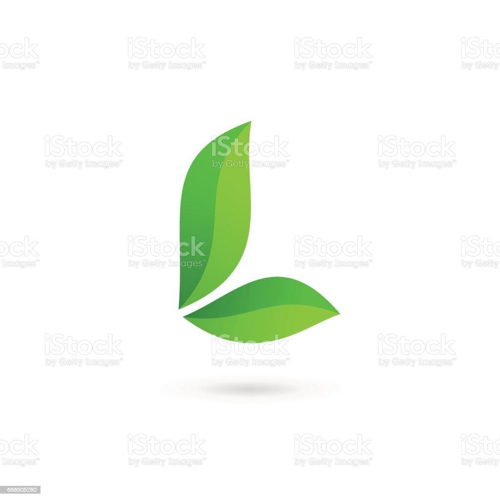 Buchstabe L eco Blätter icon design-Vorlage Elemente – Vektorgrafik