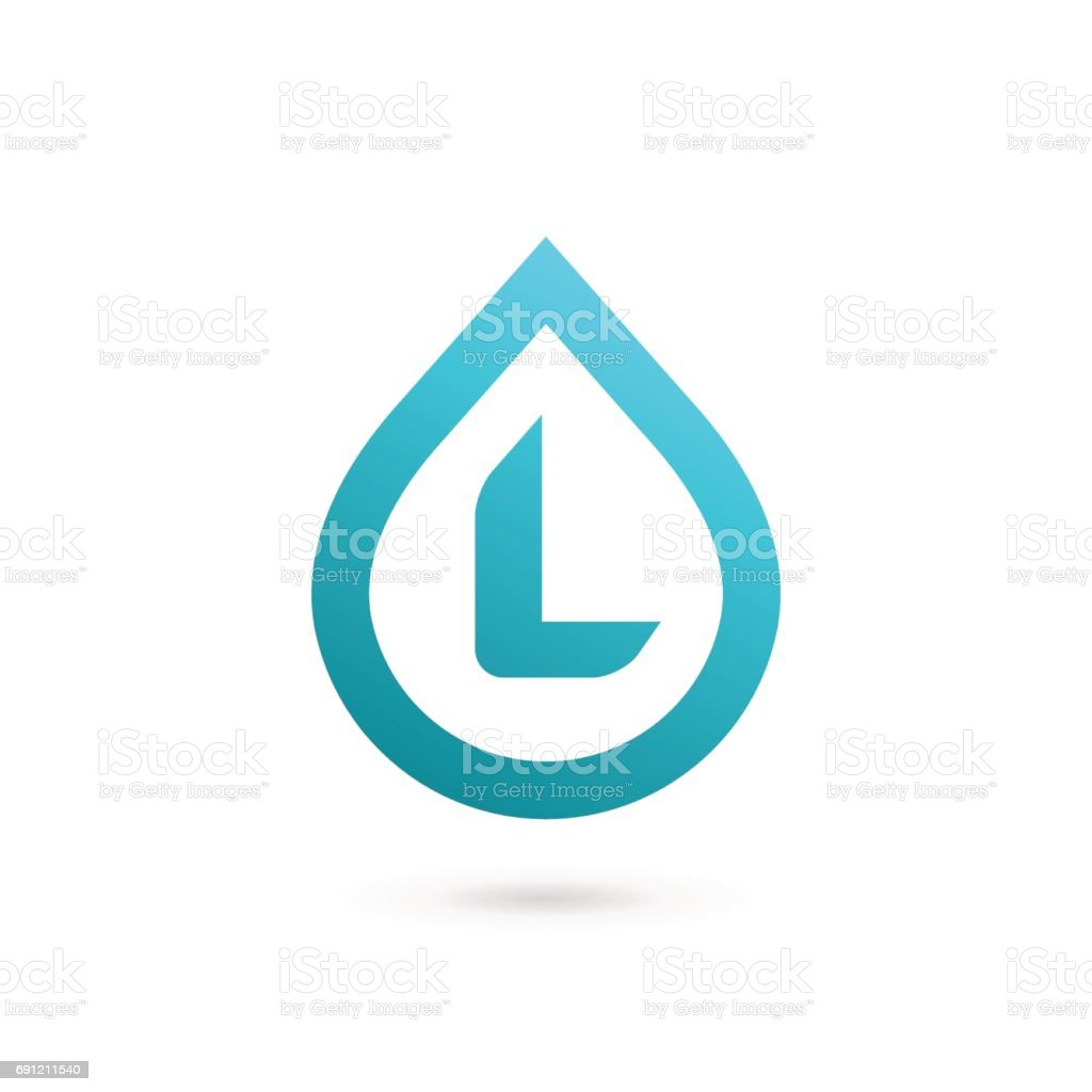 Letter L with water drop icon vector art illustration
