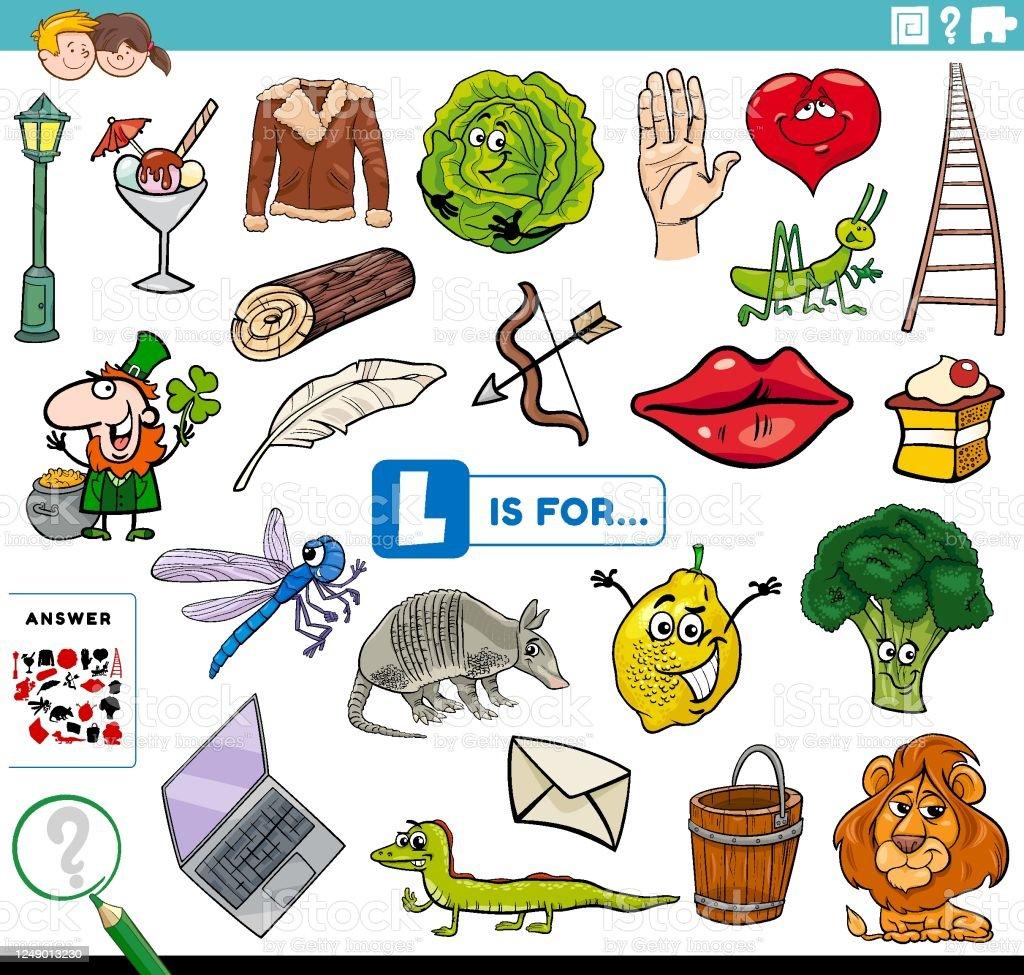 Letter L Words Educational Task For Children Stock ...