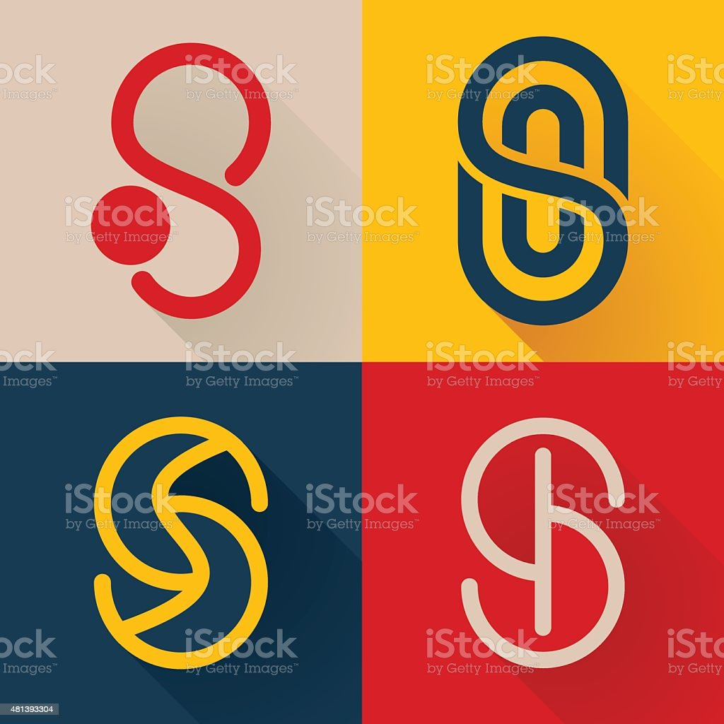 S letter line icon set vector art illustration