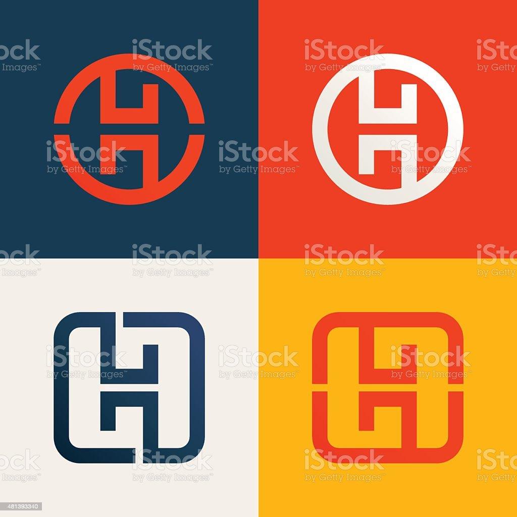 H letter line icon set vector art illustration
