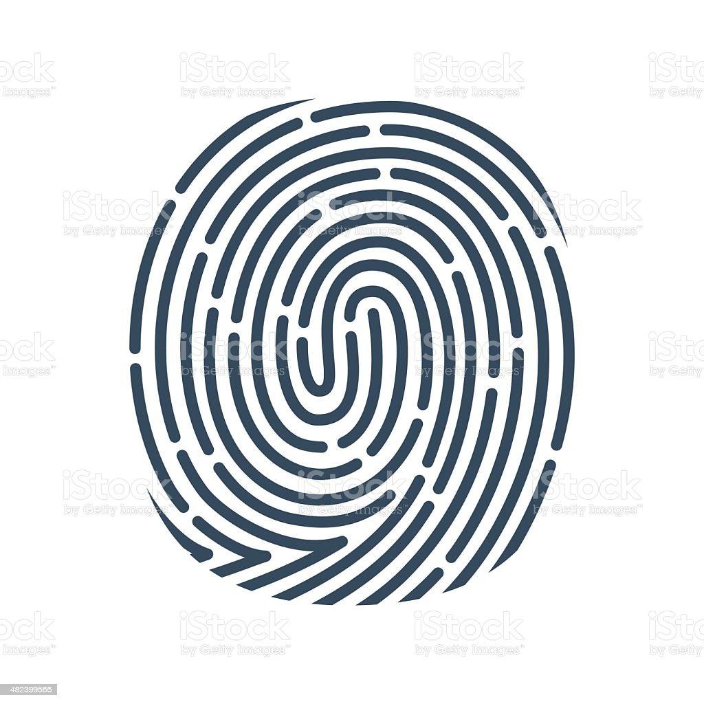 O レター線アイコンをクリックします。ベクトル指紋デザインです。 ベクターアートイラスト