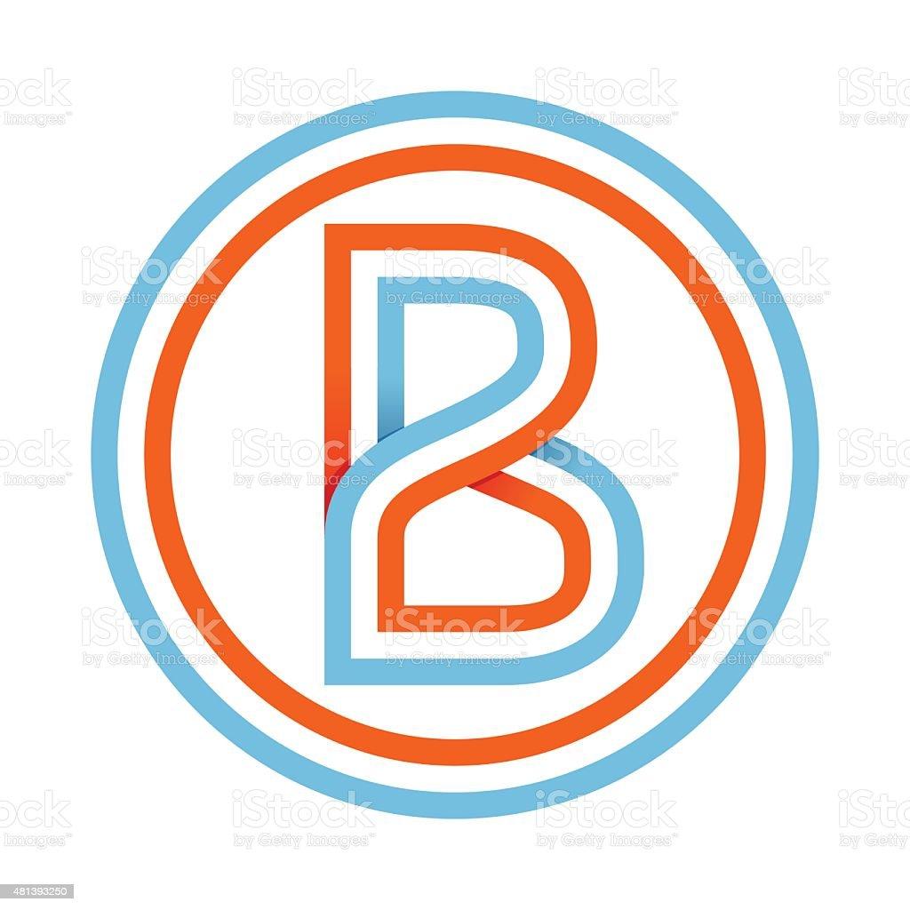 B letter line icon vector art illustration