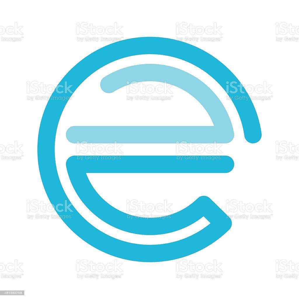 E letter line icon vector art illustration