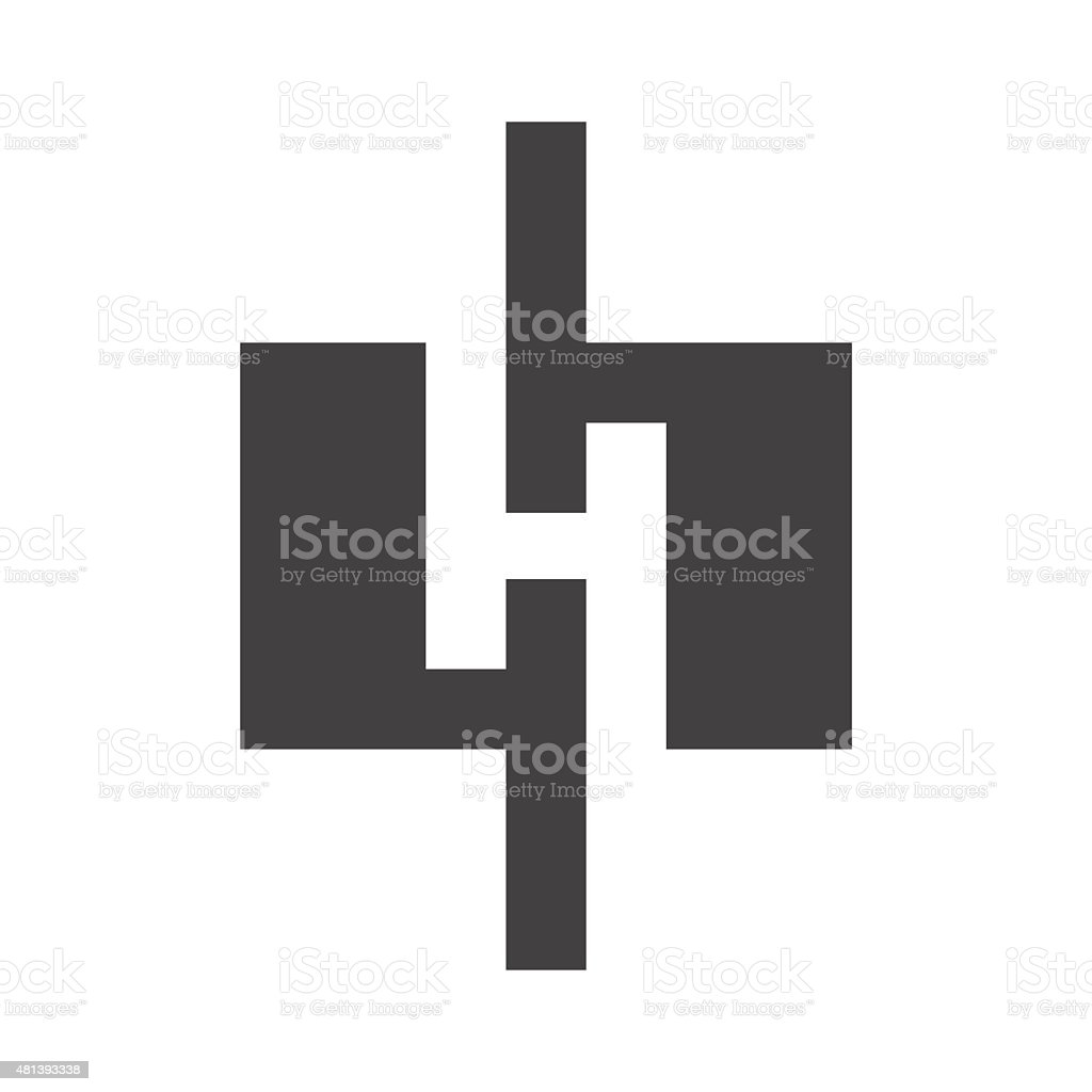H letter line icon vector art illustration