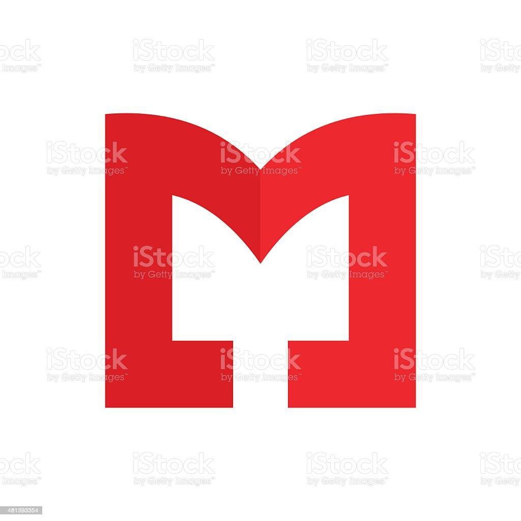 M letter line icon vector art illustration