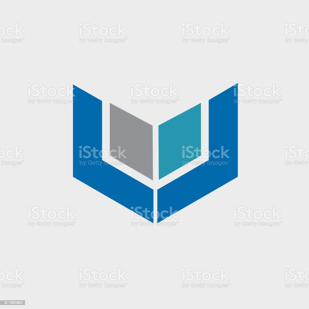Buchstabe LL mit quadratischen Element Design - Illustration – Vektorgrafik