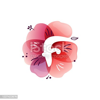 istock F letter logo at watercolor overlapping flower. 1227422676
