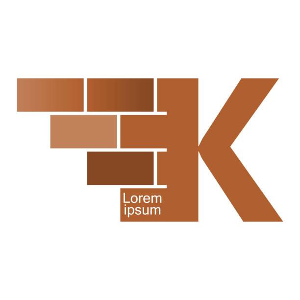K letter Logo, brick wall logo design with place for your data.  Vector image. K letter Logo, brick wall logo design with place for your data.  Vector image. k logo stock illustrations