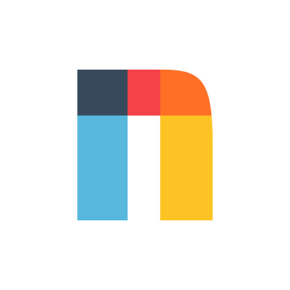 N letter logo colored brightly and vividly with colors overlay.