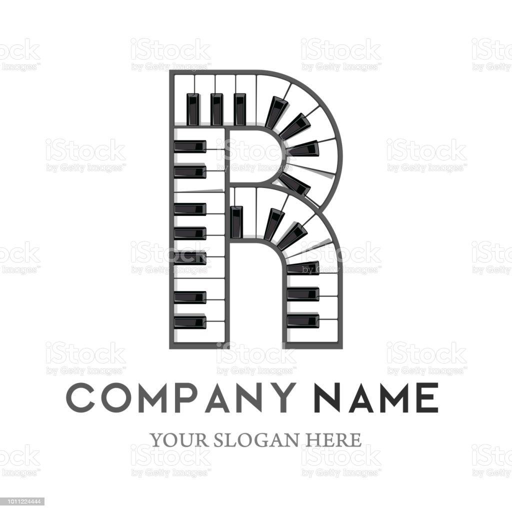 r letter logo design piano keyboard logo stock vector art more