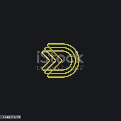 D letter logo design. Vector monogram template