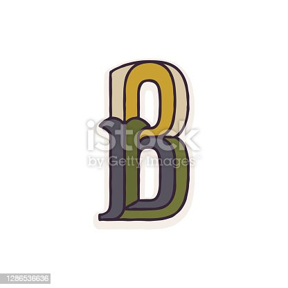 istock B letter logo faceted with dim colors. 1286536636
