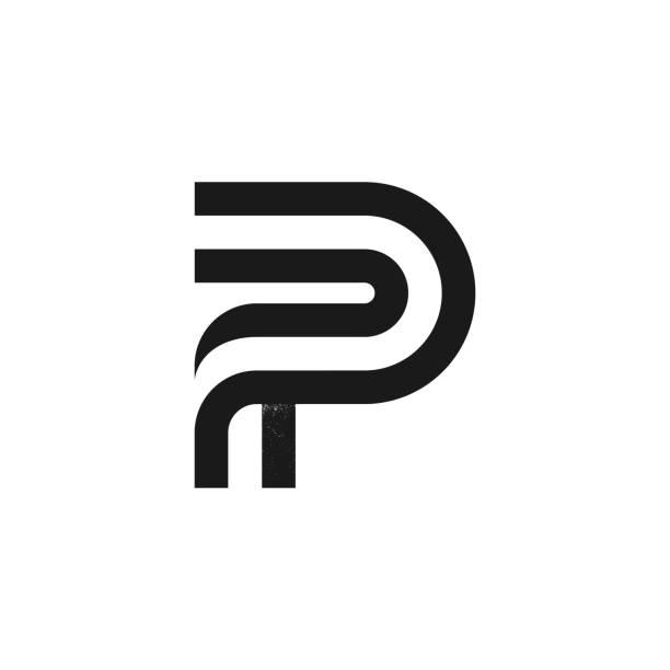 stockillustraties, clipart, cartoons en iconen met p letter logo gevormd door twee parallelle lijnen met ruistextuur. - letter p