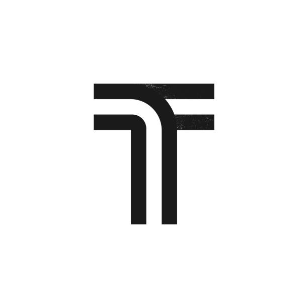 T letter logo formed by two parallel lines with noise texture. Vector black and white typeface for labels, headlines, posters, cards etc. letter t stock illustrations