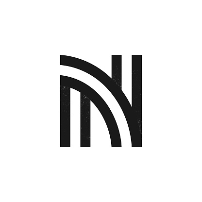 N letter logo formed by two parallel lines with noise texture.