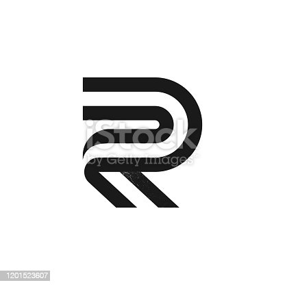 istock R letter logo formed by two parallel lines with noise texture. 1201523607