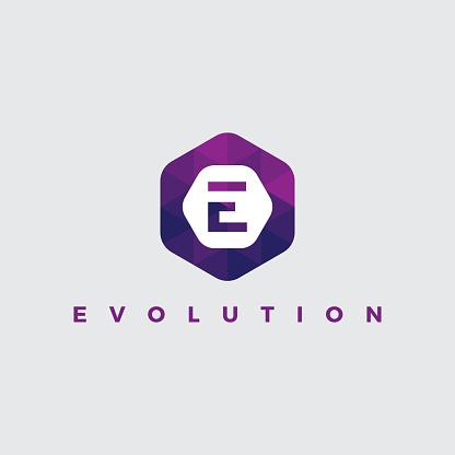 E Letter Logo Illustration on polygonal style