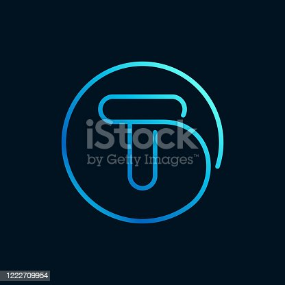 istock T letter logo in a circle. Impossible line style. 1222709954