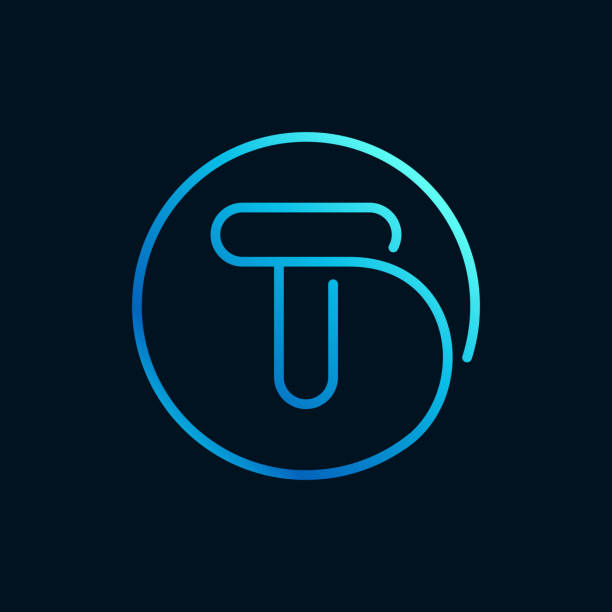 T letter logo in a circle. Impossible line style. Perfect blue icon for digital labels, nightlife print, neon advertising, etc. letter t stock illustrations