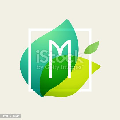 istock M letter logo in square frame at green leaves watercolor background. 1201726649