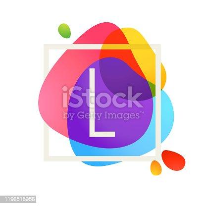 istock L letter logo in square frame at watercolor splash background. 1196518956